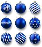 Set of realistic blue christmas balls. Stock Photography