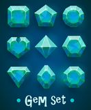 Set of realistic blue gems of various shapes. Sapphire collection. Elements for mobile games or decoration. Stock Photos