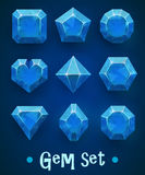Set of realistic blue gems of various shapes. Sapphire collection. Elements for mobile games or decoration. Stock Images