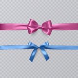 Set of realistic bows and ribbon isolated on transparent background. Template for brochure or greeting card. Vector Royalty Free Stock Photography