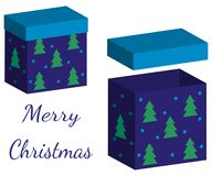 Set of realistic boxes with lid for gifts on white background. 3d illustration for design for Christmas and New Year. royalty free illustration
