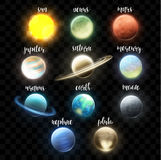 Set realistic bright planets. Light cosmic effects. Solar system. Space Stock Image