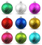 Set of realistic christmas balls. Stock Photo