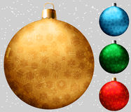 Set of realistic christmas balls with many winter doodles. Stock Photography