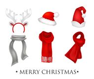 Set of realistic Christmas decorations with inscription Merry Christmas vector illustration