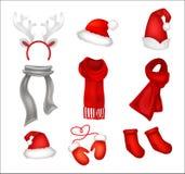 Set of realistic Christmas decorations. Santa`s hat, gloves, sca. Rfes and socks. Vector illustration stock illustration