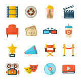 Set of realistic cinema icons. A detailed set of flat style cinema icons for web and design with movie symbols, 3D glasses, film reel, popcorn, tickets, web Stock Photography