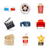 Set of realistic cinema icons. A detailed set of realistic cinema icons for web and design with movie symbols, 3D glasses, film reel, popcorn, tickets Stock Photography