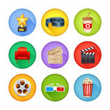 Set of realistic cinema icons. A detailed set of realistic cinema icons for web and design with movie symbols, 3D glasses, film reel, popcorn, tickets Royalty Free Stock Photos