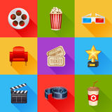 Set of realistic cinema icons Royalty Free Stock Images