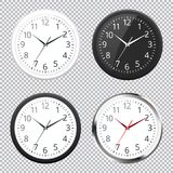 Set of Realistic classic black, white and silver round wall clock icon isolated on transparent background. Royalty Free Stock Image