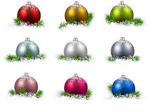 Set of realistic color christmas balls. Royalty Free Stock Image