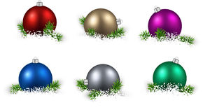 Set of realistic color christmas balls. Royalty Free Stock Images