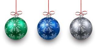Set of realistic color christmas balls. Stock Photo