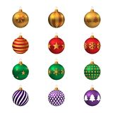 Set of realistic colored Christmas balls. Stock Image