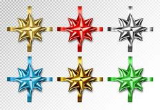 Set of realistic colored gift bow with ribbons. Vector bow-knot collection, 3d stock illustration
