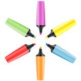 Set of realistic colored markers Royalty Free Stock Photography