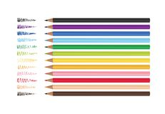 Set of 12 realistic colored pencils isolated on a white background. Vector illustration. EPS 10 royalty free illustration