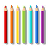 Set realistic colored pencils. Pencils of rainbow colors. Vector art supplies for drawing, sketching, graphics, painting Stock Photos