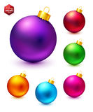 Set of realistic and colorful Christmas balls. Vector illustration Stock Photos