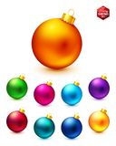 Set of realistic and colorful Christmas balls. Stock Photos