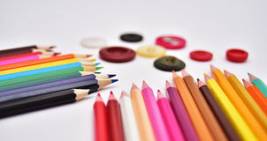 Set of Realistic Colorful Colored Pencils. Or crayons Stock Image