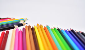 Set of Realistic Colorful Colored Pencils. Or crayons Stock Photos
