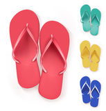Set of Realistic Colorful Flip Flops Beach Slippers Royalty Free Stock Photography