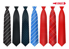 Set realistic colorful neckties. Royalty Free Stock Photo