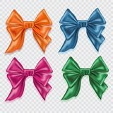 Set of Realistic colorful satin bows  on checkered background. Template for brochure or greeting card. Vector. Illustration Stock Images