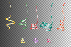 Set Of Realistic Colorful Serpentein Ribbons.  Vector Design Element. Holiday Decoration Stock Images