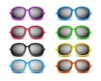 Set of Realistic Colorful Unisex Modern Stylish Elegant Sunglasses Royalty Free Stock Images