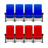 Set of realistic comfortable movie chairs for cinema theater. Cinema empty red and blue seats. Vector illustration. EPS 10 vector illustration