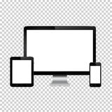Set of realistic computer monitor, digital tablet and mobile phone with blank screen. Isolated on transparent background. vector illustration