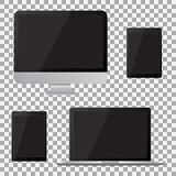Set of realistic computer monitor, laptop, tablet with empty black screen. Various modern electronic gadget on isolate background Royalty Free Stock Images
