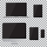 Set of realistic computer monitor, laptop, tablet and mobile phone with empty black screen. Various modern electronic gadget  Royalty Free Stock Image