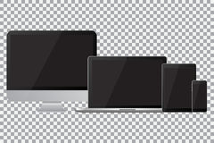 Set of realistic computer monitor, laptop, tablet and mobile phone with empty black screen. Various modern electronic gadget Royalty Free Stock Images