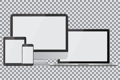 Set of realistic computer monitors, laptops, tablets and mobile phones. Electronic gadgets, , on isolated background vector illustration