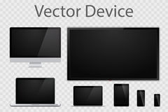 Set of realistic computer monitors, laptops, tablets, TV and mobile phones. Electronic gadgets isolated on transparent background. Device mockup template vector illustration