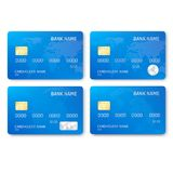 Set of realistic credit card template. Plastic blue credit cards with chip and map picture. Vector illustration. Isolated on white background royalty free illustration