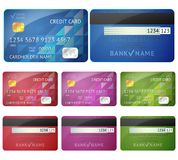 Set of realistic credit card two sides isolated on Royalty Free Stock Photo