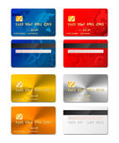Set of realistic credit cards from both sides in different designs include gold and platinum on white Stock Photography