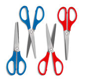 Set of Realistic 3d Blue and Red Plastic Scissors Stock Image