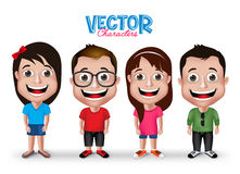 Set of Realistic 3D Boys and Girls Young Adult Kids Characters Royalty Free Stock Photography