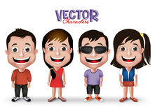 Set of Realistic 3D Boys and Girls Young Adult Kids Characters Stock Photos