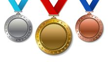 Set of realistic 3d Champion gold, silver and bronze award.  Royalty Free Stock Images