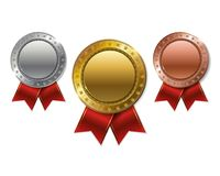 Set of realistic 3d Champion gold, silver and bronze award.  Royalty Free Stock Photography