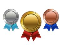 Set of realistic 3d Champion gold, silver and bronze award.  Stock Photo