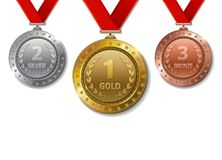 Set of realistic 3d Champion gold, silver and bronze award. 