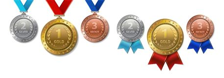 Set of realistic 3d Champion gold, silver and bronze award vector illustration